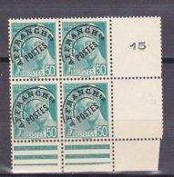 N° 82 Préoblitérés Type Mercure 50c Turquoise Bloc De 4 Timbres Neuf Impeccable Bord De Feuille Droit - Precancels