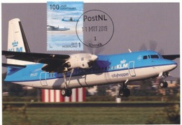D38611 CARTE MAXIMUM CARD RR FD 2019 NETHERLANDS - FOKKER 50 - SCHIPHOL 100 YEARS AVIATION CP ORIGINAL - Flugzeuge