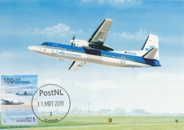 D38612 CARTE MAXIMUM CARD RR FD 2019 NETHERLANDS - FOKKER 50 - SCHIPHOL 100 YEARS AVIATION CP ORIGINAL - Flugzeuge