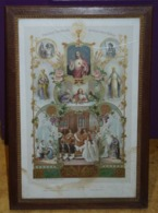 GRAND CADRE RELIGIEUX EN BOIS CISELE DORURE 1904   50 X 34.5 Cm Environ - Religion & Esotérisme