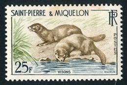 ST-PIERRE ET MIQUELON 1959 - Yv. 361 *   Cote= 5,50 EUR - Faune. Visons  ..Réf.SPM11740 - St.Pierre & Miquelon