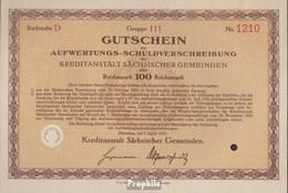 Deutsches Reich 100 Reichsmark, Gutschein Zur Aufwertungs-Schuldverschreibung Sehr Schön 1931 Kreditanstalt Sächs. Gem - 1918-1933: Weimarer Republik