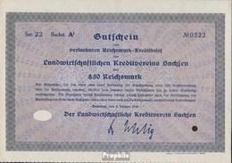 Deutsches Reich 850 Reichsmark, Gutschein Sehr Schön 1930 Landwirts. Kreditverein Sachsen - 1918-1933: Weimarer Republik