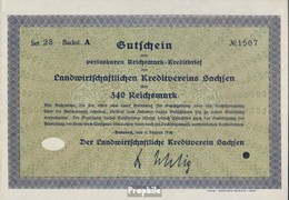 Deutsches Reich 340 Reichsmark, Gutschein Sehr Schön 1930 Landwirts. Kreditverein Sachsen - 1918-1933: Weimarer Republik