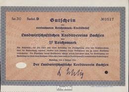 Deutsches Reich 17 Reichsmark, Gutschein Sehr Schön 1930 Landwirts. Kreditverein Sachsen - [ 3] 1918-1933 : Weimar Republic