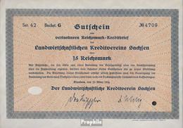 Deutsches Reich 15 Reichsmark, Gutschein Druckfrisch 1934 Landwirts. Kreditverein Sachsen - Unclassified