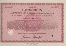 Deutsches Reich 50 Reichsmark, Gutschein Zur Auiwertungs-Schuldverschreibung Druckfrisch 1931 Kreditanstalt Sächs. Geme - [ 3] 1918-1933 : Weimar Republic