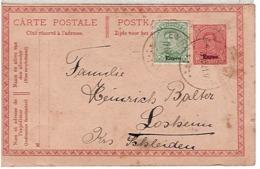 Entier Postal EP Surcharge EUPEN Avec Timbre OC87 Complémentaire De EYNATTEN Du 17 10 1921 - WW I