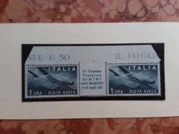 REPUBBLICA - Curiosità - Giornata Filatelica Rimini-San Marino 1947 - Coppia Con Ponte + Spese Postali - Varietà E Curiosità