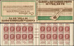 CARNETS (N° Yvert) - 517-C2    Pétain, 1f.50 Brun, N°517, Secours National, S. 67, LOTERIE NATIONALE, Daté 11/5/43, TB - Booklets