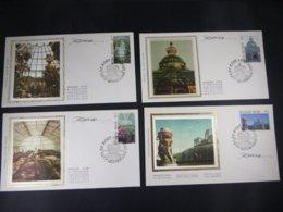 """BELG.1989 2340/43 FDC's Soie/zijde (Gentbrugge) & Signature Désiré Roegiest   : """"Serres De Laeken/Laken """" - FDC"""