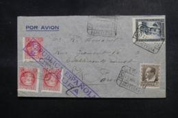 ESPAGNE - Enveloppe En Recommandé De Barcelone Pour La France En 1937 Avec Cachet De Censure - L 47981 - Republikanische Zensur