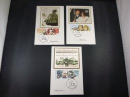 """BELG.1990 2387/89 FDC Mcards Zijde/soie & Signature Désiré Roegiest  : """" Culturele/ Culturelle """" - FDC"""