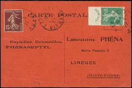Let LETTRES DU XXe SIECLE - N°188 Phéna Et N°189 Obl. Bordeaux 7/5/27 S. CP Du Laboratoire Phéna, TB - France