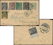 Let INDE Env. Entier Rec. 5c. Vert Affr. N°1 (2), 3, 4/5 Et 16 Obl. CHANDERNAGOR 19/12/07, Arr. BRAUNSCHWEIG 4/1/08, TB - India (1892-1954)
