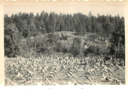OSLO CULTURE PHYSIQUE SUR LA PLAGE  1950 PHOTO ORIGINALE 8.50 X 6 CM VOIR LES 2 SCANS - Lugares