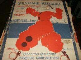 SPARTITO CARNEVALE AZZURRO ILLUSTRATO SPINA CONCORSO CANZONETTA VIAREGGIO CARNEVALE 1923 - Noten & Partituren