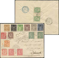 Let ZANZIBAR France, Types Sage, Blanc, Mouchon, Semeuse, 16 T. Diff. Dt 3 Paires Mill., Obl. Càd ZANZIBAR 26/7/04 S. En - Zanzibar (1894-1904)