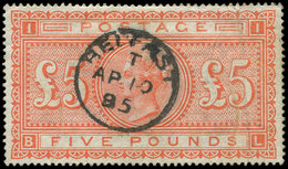 GRANDE BRETAGNE 46 : 5p. Rouge-orange, Obl. BELFAST, Petit Pli Vertical, Aspect TB - 1840-1901 (Victoria)