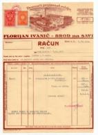 1934 YUGOSLAVIA, CROATIA, BROD NA SAVI, FLORIJAN IVANIC, INVOICE ON LETTERHEAD, 2 FISKAL STAMPS - Invoices & Commercial Documents
