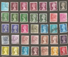 Great Britain: 35 Different Used Stamps, Various Years - Machins