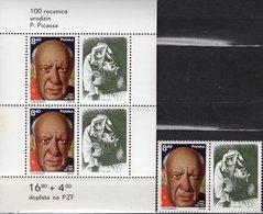 Malerei 1981 Polen 2728b+Block 84 ** 6€ Gemälde Porträt Picasso Bloque Bloc Ss Painting Art Se-tenant Poland/Polska - Picasso
