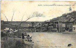 A3 Gard 30 ALAIS ALES Pont Suspendu Sur Le Gardon à Tamaris Les Lavandieres 1908 - Alès
