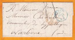 1854 - Lettre Avec Correspondance Fraternelle De 4 Pages En Français De Genève, Suisse Vers Narbonne, Aude, France - Marcophilie
