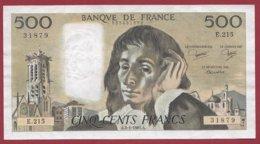 """500 Francs """"Pascal"""" Du 03/01/1985.A----VF/SUP---ALPH.E.215--AUCUN TROU D EPINGLE - 500 F 1968-1993 ''Pascal''"""