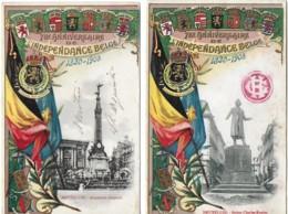 BELGIQUE :  Bruxelles : 75e Anniversdaire De L'indépendance (statue Rogiet Et Monument Anspach)(2 Cartes) - Evénements