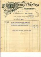 Vins Madère Vinos De España Y Portugal  - Tarragona Enrique Ventosa - Factura De 100 Litres De Madére - 1907 - Espagne