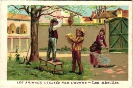 3 Cards Bees Honey Cigaretten  Bienen Kinderlieder Apiculture Récolte D'un Essaim Ruches Chocolat Guérin Boutron Litho - Chromos