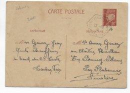 """1941 - POSTE NAVALE - CARTE ENTIER PETAIN Du TRANSPORT HYDRAVIONS """"COMMANDANT TESTE"""" - Marcophilie (Lettres)"""