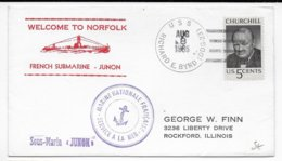 1965 - NAVALE - ENVELOPPE Du SOUS-MARIN JUNON ARRIVE à NORFOLK - EXPEDIE Du NAVIRE AMERICAIN USS  BYRD ! => USA - Marcophilie (Lettres)