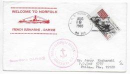 1965 - NAVALE - ENVELOPPE Du SOUS-MARIN DAPHNE ARRIVE à NORFOLK - EXPEDIE Du NAVIRE AMERICAIN USS  HUGH PURVIS  ! => USA - Marcophilie (Lettres)