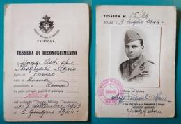 """Tessera Di Riconoscimento - (Corpo Militare Clandestino """"BERTONE""""). 1944 - Documenti Storici"""