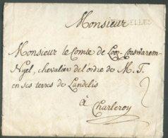 Enveloppe De BRUXELLES (H. Type 2N, 29,5x4 Mm) Vers Le Comte De Looz-Corswarem Nyel Chevalier De L'ordre De M.T En Ses T - 1714-1794 (Austrian Netherlands)