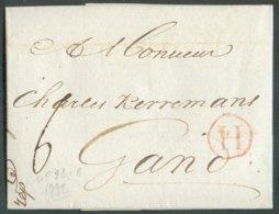 LAC D'ANVERS Le 9 Février 1792 + Griffe H (en Rouge) Vers Gand; Port De '6' (encre).  14806 - 1714-1794 (Austrian Netherlands)
