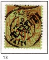 Ex Colonie Française  * Tahiti  * Poste  13  Obl - Tahiti (1882-1915)
