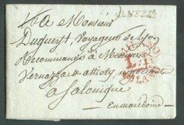 LAC De Lyon (Francia) Le 10 Avril 1810 Et Acheminée (camaniato) Via VENEZIA (griffe) + Griffe Rouge MILANO L.A. Vers Sal - 1. ...-1850 Prephilately