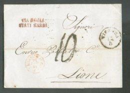 LAC De VICENZA 12/8 1856 + Griffe VIA DEGLI STATI SARDI Vers Lyon (FR)  - 14815 - 1. ...-1850 Vorphilatelie