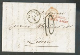 LAC De VICENZA 23/1 1856 + Griffe VIA DEGLI STATI SARDI Vers Lyon (FR)  - 14816 - Italie
