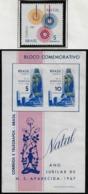 Brazil RHM-25 Christmas 1967 Our Lady Of Aparecida Rose Flower Mint With 2 Light Folds + RHM C-586 - Christmas