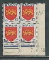 France N° 835 XX Armoiries : Guyenne  En Bloc De 4 Coin Daté Du  7 .  4 . 49 ;  1 Point Blanc, Sans Charnière, TB - Coins Datés
