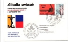 PREMIER VOL ALITALIA SWISSAIR ROME-ZÜRICH-ROME PAPE JEAN PAUL II 1985 - Vliegtuigen