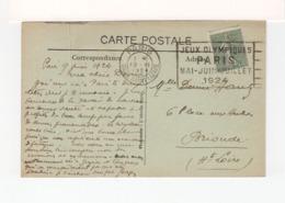Sur CPA De N. Dame De Paris CAD Paris Gare St Lazare 1924. Flamme JO Paris Mai Juillet 1924 Sur Semeuse Lignée. (3420) - Poststempel (Briefe)