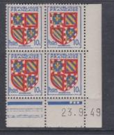 France N° 834 XX Armoiries : Bourgogne  En Bloc De 4 Coin Daté Du  23.  9 . 49 ; 3 Points Blancs, Sans Charnière, TB - 1940-1949