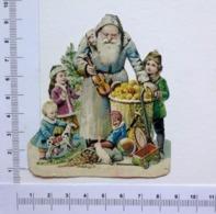 TRÈS BEAU CHROMO DECOUPI....PÈRE NOEL...ENTOURE D'ENFANTS ET DE JOUETS - Motif 'Noel'