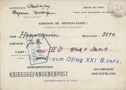 OFLAG XXI B GEPRÜFT 13 Octobre 1940 - Carte De Schubin Ou Thure (Szubin Ou Turek En Pologne) Cachet Trapèze - Marcophilie (Lettres)