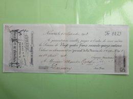 JOURNAL - IMPRIMERIE DE LA NIEVRE - G.VALLIERE à NEVERS (58) Le 10/09/1903 Timbre Fiscal 5c 100F ET AU DESSOUS - Imprenta & Papelería